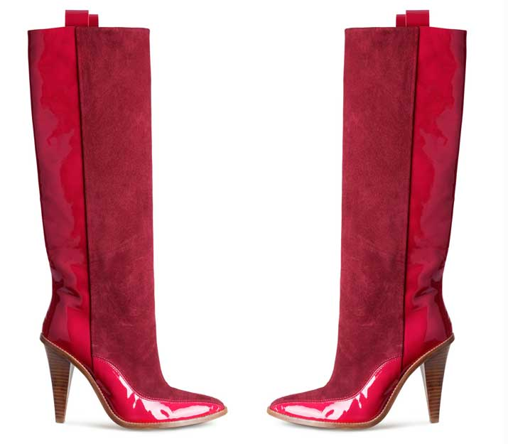 red patent knee high boots