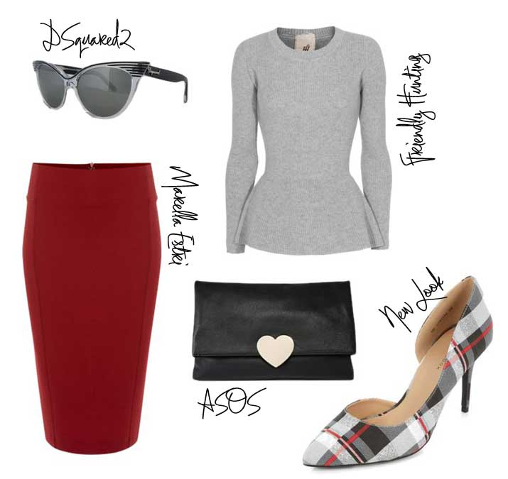 autumn outfit featuring red pencil skirt and check court shoes