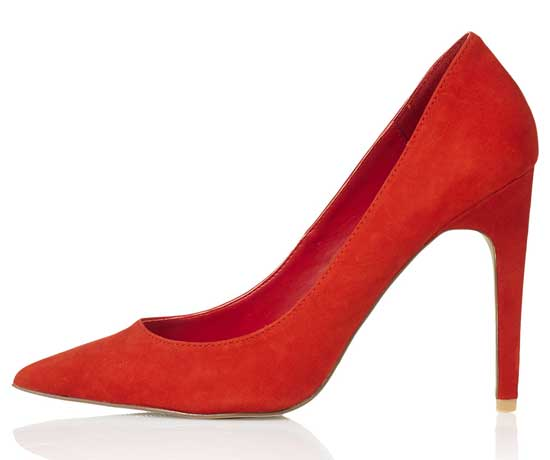 red pointed toe court shoes