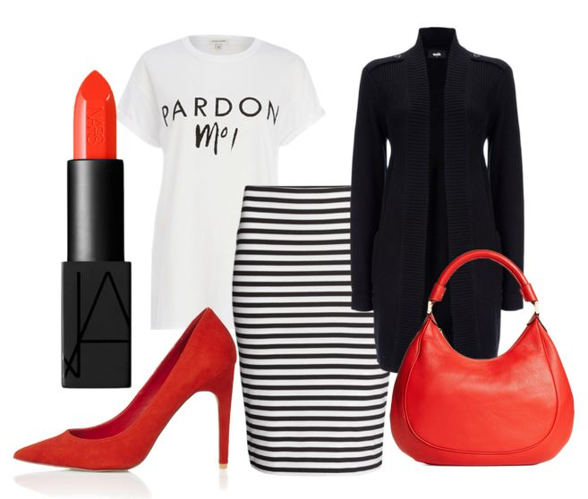 red pumps and stripe skirt