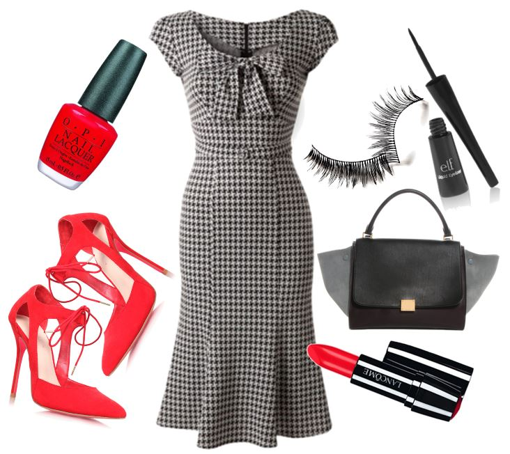 tweed Stop Staring dress with red shoes