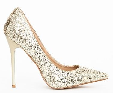 gold high heel party shoes