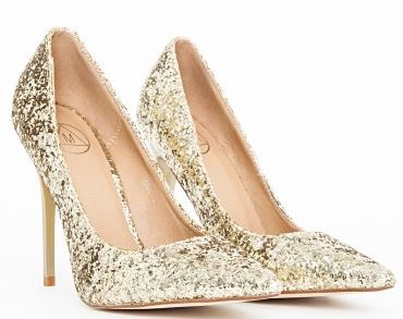glitter covered gold stiletto shoes