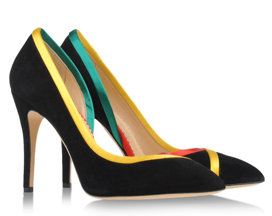 Charlotte Olympia black satin shoes with ,ulticoloured trim
