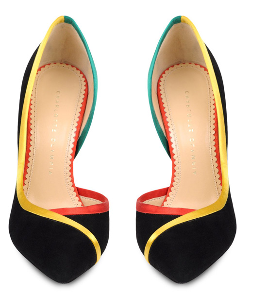 black shoes with multicoloured trim