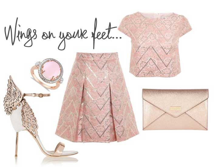 outfit featuring sophia webster winged sandals and jacquard skirt