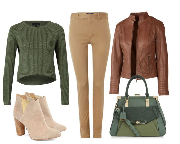 casual autumn outfit in green and tan