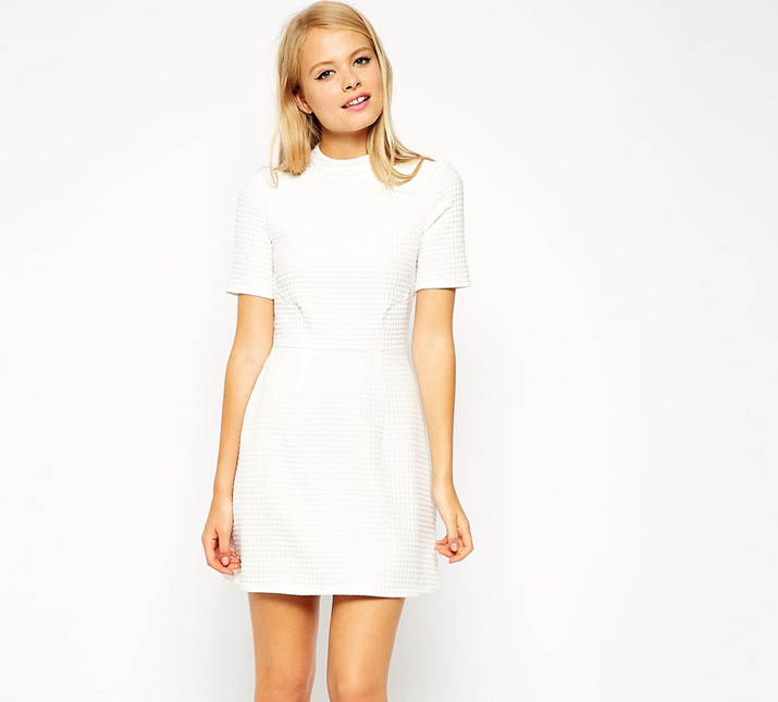cream a-line shift dress