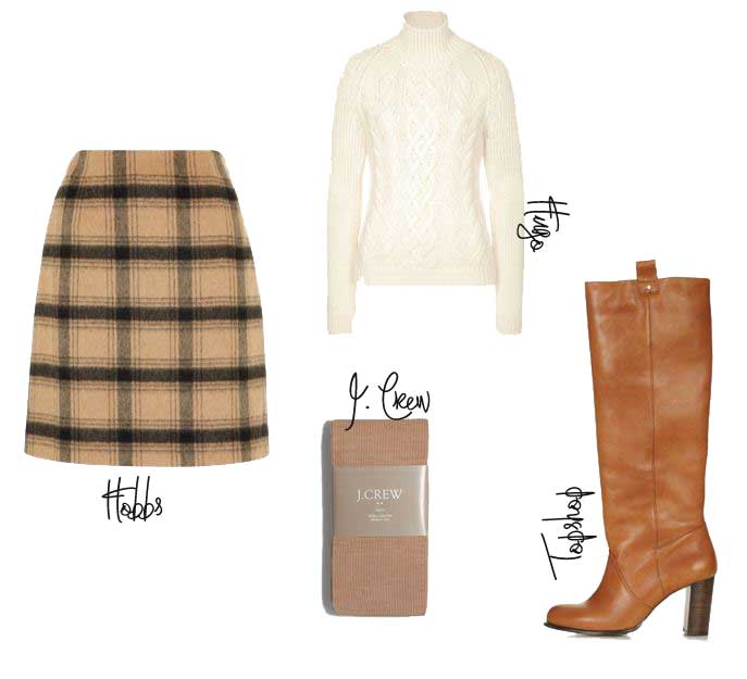 autumn outfit featuring tan knee high boots