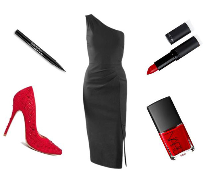 outfit featuring black dress and red shoes