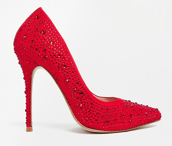 Carvela Gemini red jewel encrusted court shoes