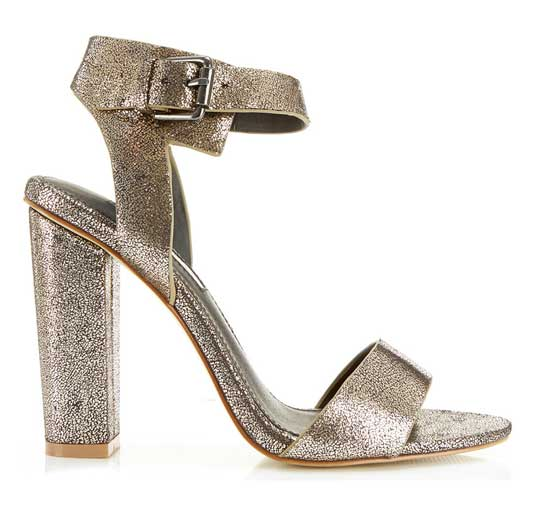 Shoe of the Day | Miss Selfridge 'Chelsea' gold block heel sandals ...