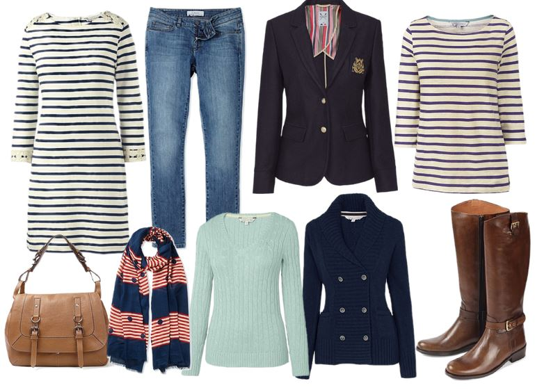 preppy/nautical capsule wardrobe for autumn