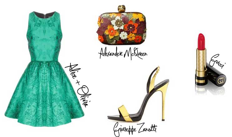 outfit featuring green dress and gold shoes