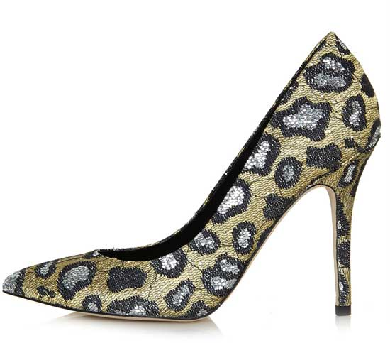 leopard print pumps in glitter