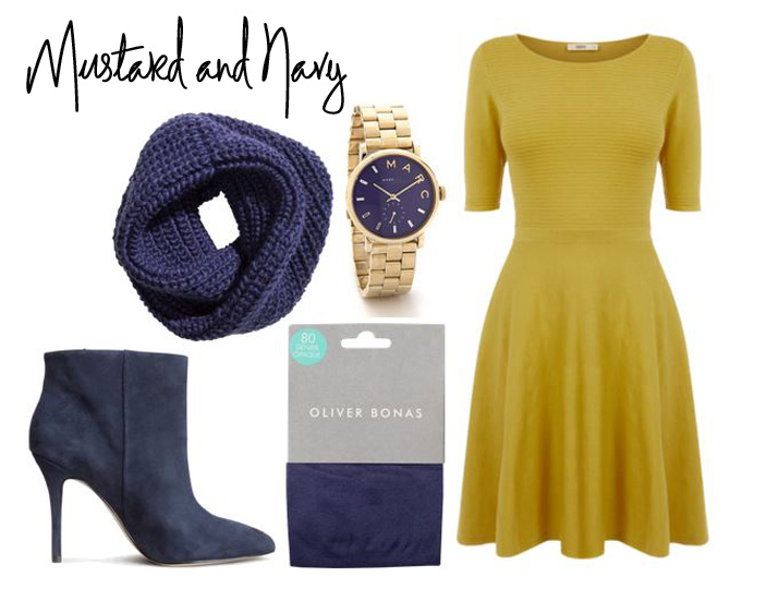 outfit featuring mustard dress and navy scarf