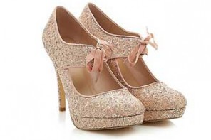 New Look Pink Glitter ribbon front heels