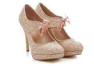 0670b8051fd New Look Pink Glitter ribbon front heels   Shoeperwoman