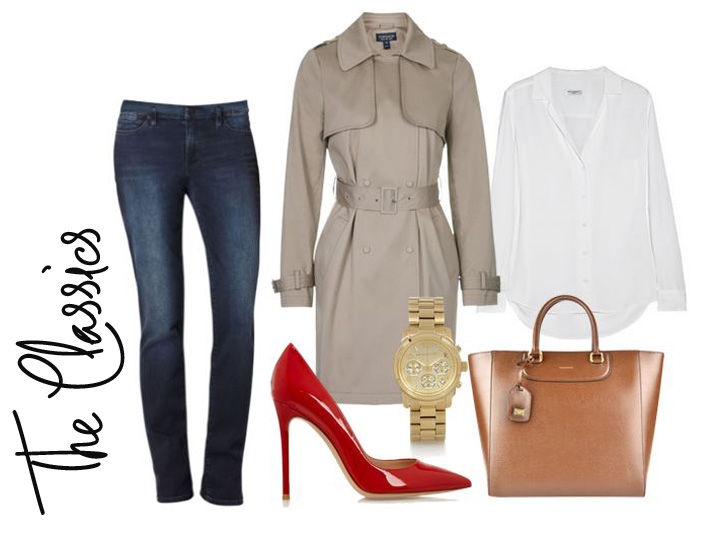 classic outfit featuring jeans, trench coat and red shoes
