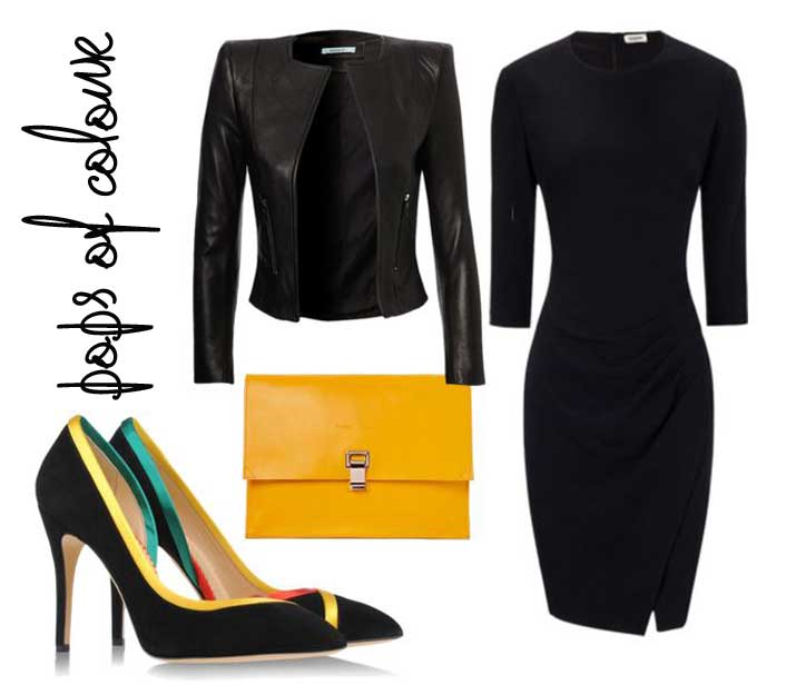 all-black outfit with pops of colour