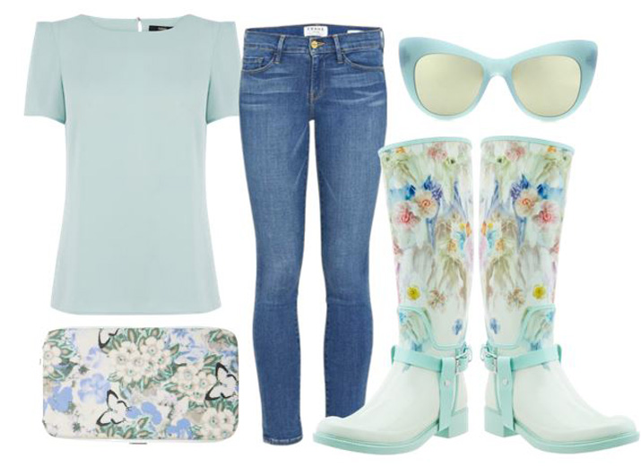 rainy day outfit featuring floral wellington boots