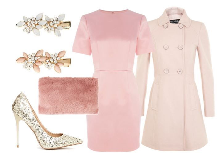 pink and gold party outfit featuring glitter heeled shoes