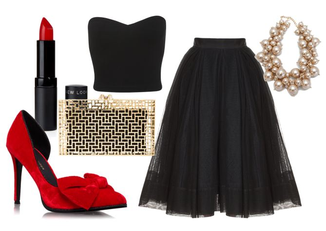 tulle skirt and red shoes