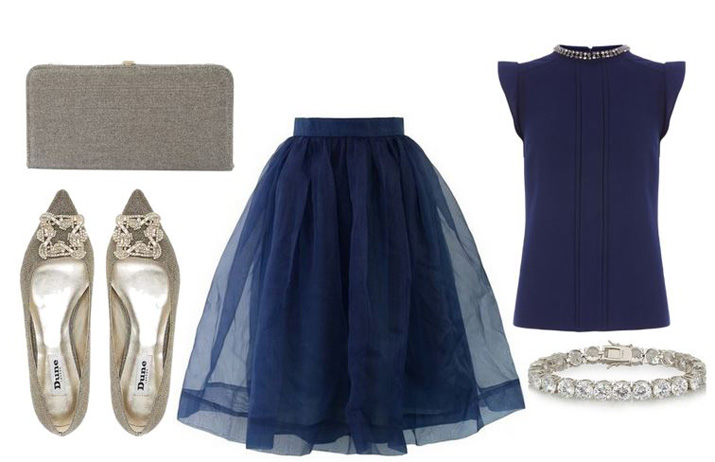 tulle skirt and gold flats