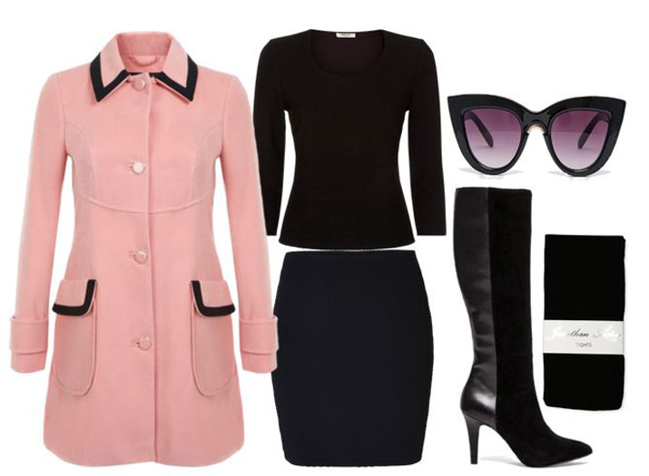 winter outfit featuring pink coat and mini skirt