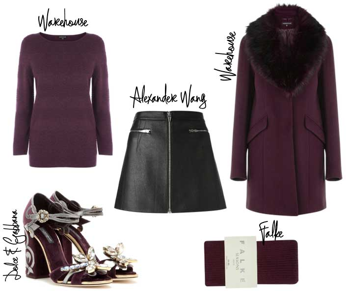 autumn outfit featuring plumn winter coat and mini skirt