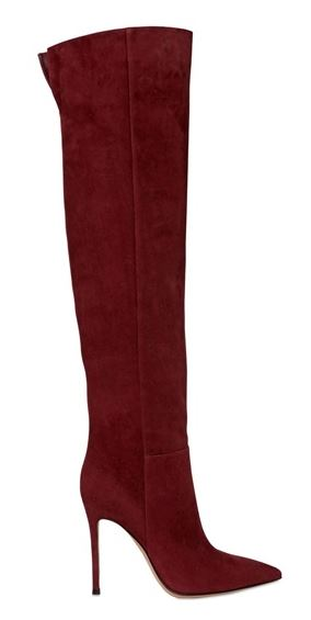 red suede knee high boots