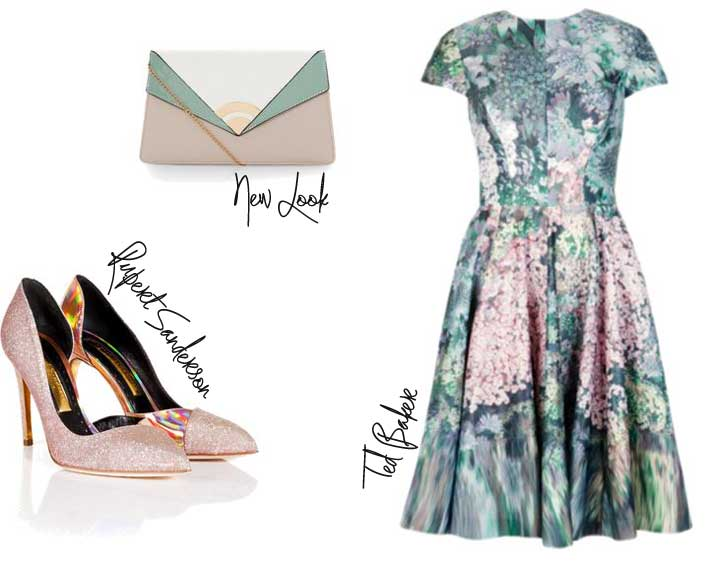 Ted Baker dress and pink shoes