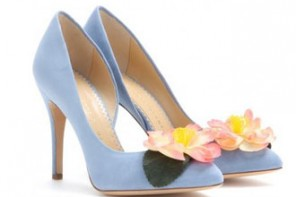Shoe of the Day | Charlotte Olympia 'Vamp in Bloom' suede pumps with flower embellishment