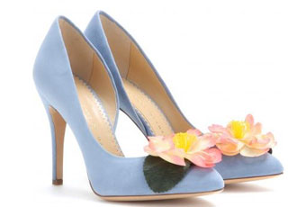 Chrlotte Olympia blue shoes with flower