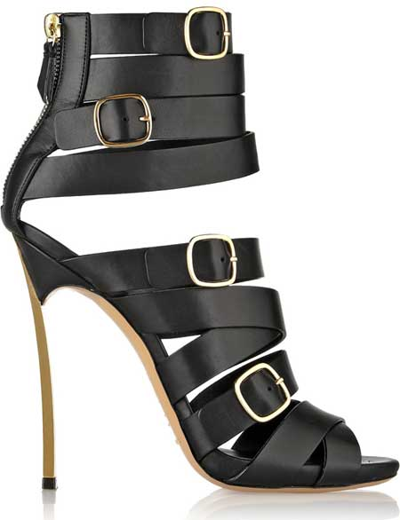black strappy Casadei sandals with gold Blade heel