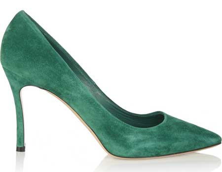 casadei green suede pumps