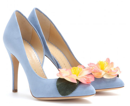 Charlotte Olympia Vamp in Bloom suede shoes