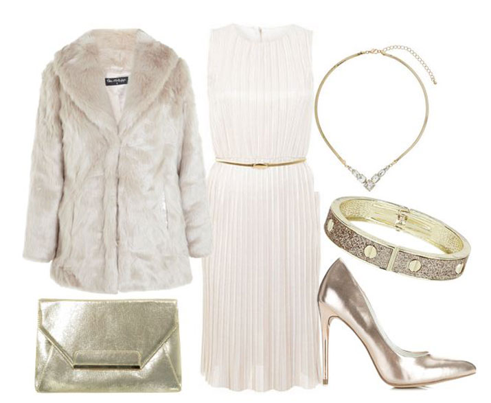 party outfit featuring faux fur coat and cream dress
