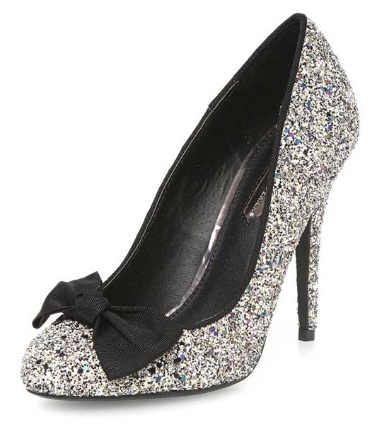 silver glitter court shoes with bow