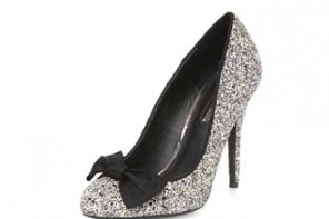 Shoe of the Day | Dorothy Perkins silver glitter bow pumps