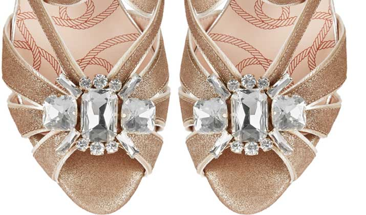gold sandals with embellished toes
