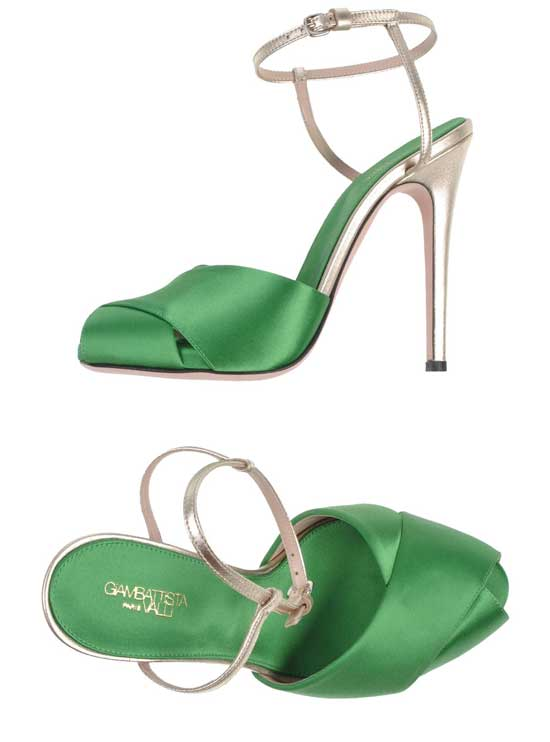 green and gold high heeled sandals by Giambattista Valli