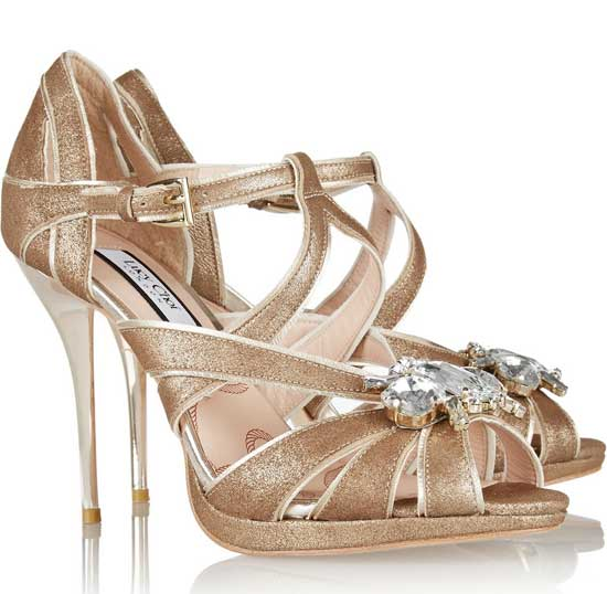 Lucy Choi London gold party shoes