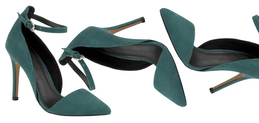 green asymmetric shoes