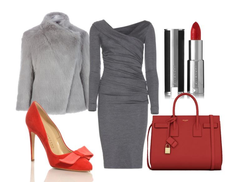 outfit featuring red shoes and faux fur coat
