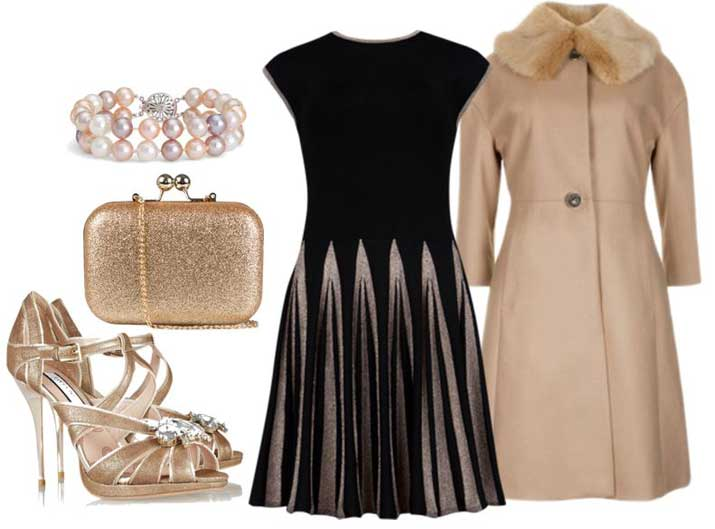 party outfit featuring black dress and gold Lucy Choi sandals