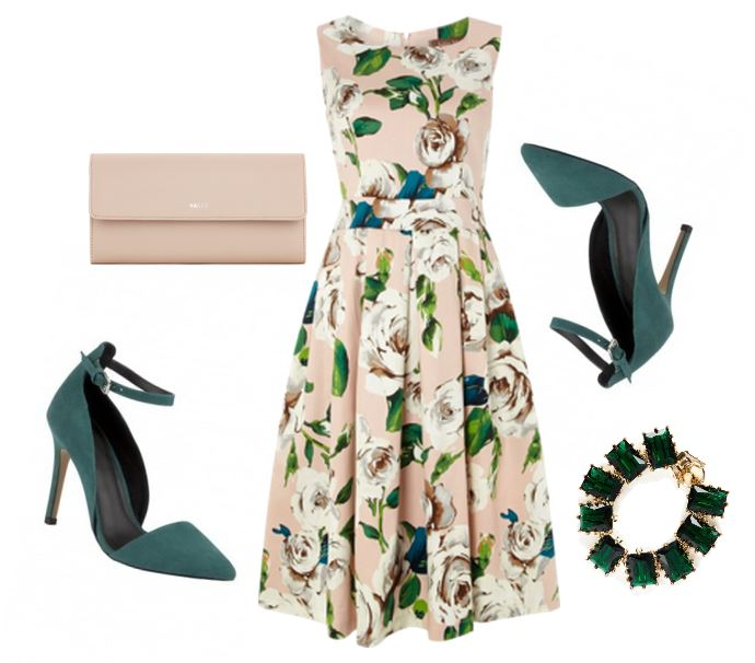 retro dress and green shoes