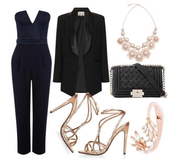 partyoutfit featuring jumpsuit and strappy sandals