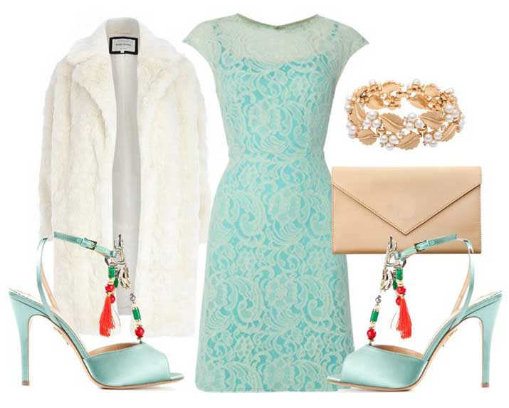 party outfit with mint green dress and heels