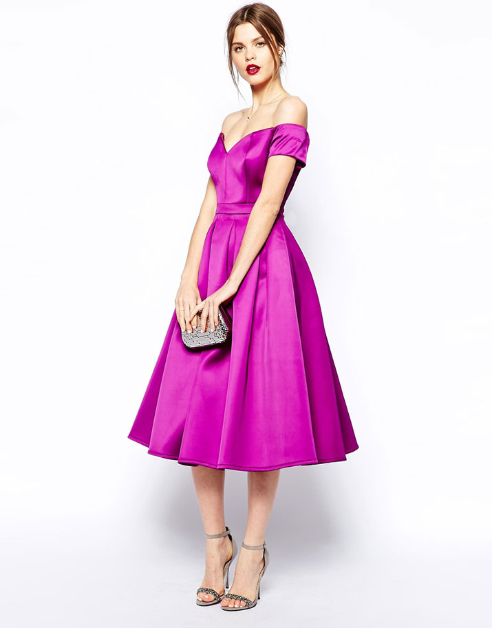 ASOS purple bardot midi dress